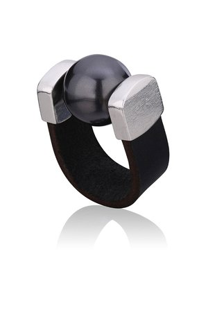 Joccos Design - Black Pearl Ring in Silver
