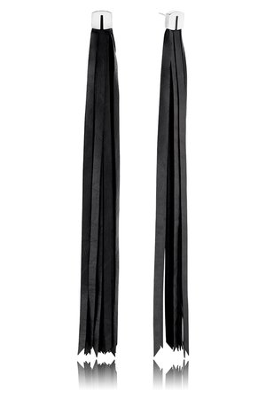 Joccos Design - Long Tassel Leather Earrings in Silver