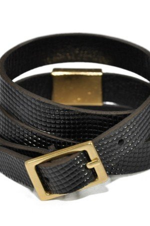 Joccos Design - Bogota Triple Wrap Faux Lizard Shiny Black Bracelet in Gold
