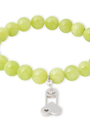 B-Nasty - SILVER CHARMS WITH GREEN BRACELET