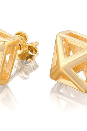 Joccos Design - Small 3D Pyramid Earrings in Gold c49259