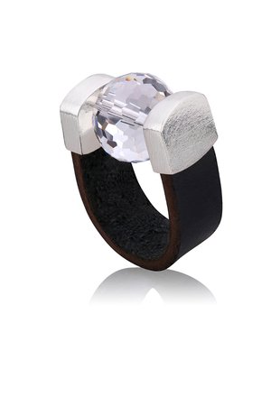 Disco ball black leather ring in silver b5d247 90f20b