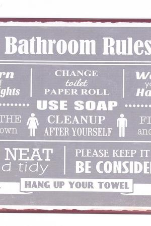 MIA home passion - Szyld metalowy Bathroom Rules