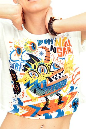 DON'T NEED NO SAMURAI - Gone Surfing Crop Top White by Don't Need No Samurai, Cutting Edge Stuff