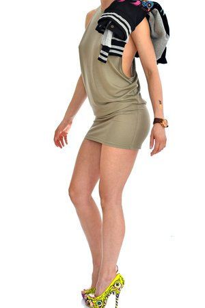 DON'T NEED NO SAMURAI - Khaki Low Cut Dress