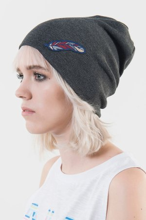 Dark grey leaf beanie 6f7ce0