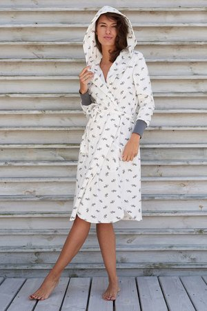 sleepless in Warsaw - Szlafrok lady bathrobe bulldog print po domu i na wyjazd