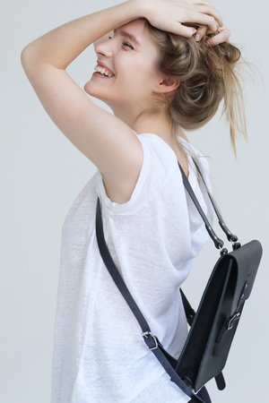 Small leather backpack natural 381490