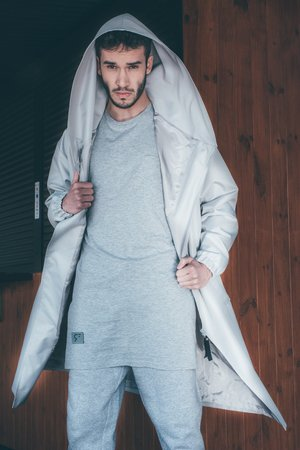 REST_FActory - HOODIE GREY OVERSIZE COAT
