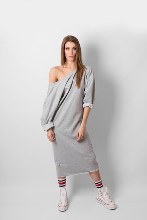 Oversize neckline grey dress 9faa4f