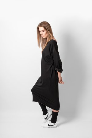REST_FActory - OVERSIZE NECKLINE BLACK DRESS