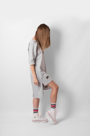 T shirt grey panel dress f44272