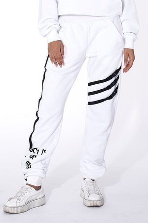White sweatpants luck is on my side ad7f95