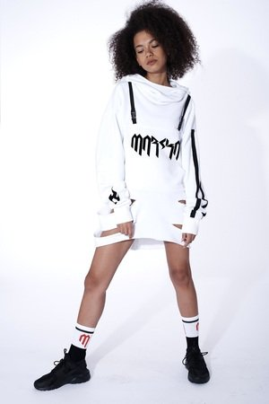 Long white hoodie with cut outs 066554