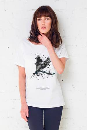 Stork painted t shirt oversize