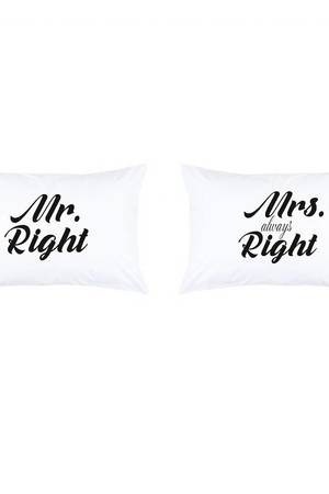 Love To Sleep - POSZEWKI NA PODUSZKI Z NAPISAMI MR. RIGHT & MRS. ALWAYS RIGHT