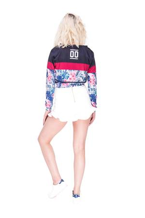 Sweatshirt crop fuchsia flower