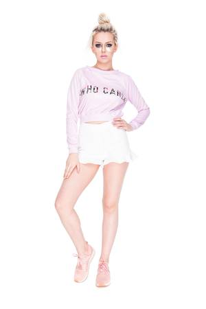 Who Cares - Sweatshirt Crop Pink Milky Way