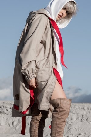 REST_FActory - Beige/Red parka coat