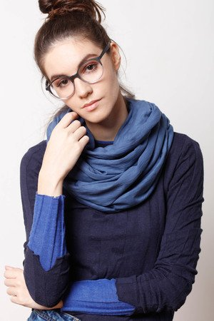 CADOaccessories - DZIANINOWY KOMIN TUBA SZAL denim granat