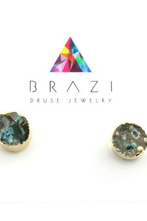 Earrings druza agatu green magic zloto