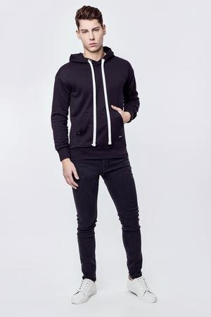 MALE-ME - Bluza bawełniana z kapturem Basic Black