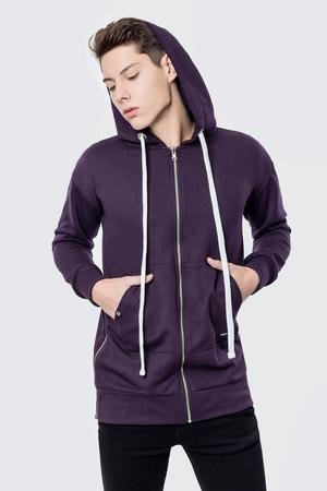 MALE-ME - Bluza bawełniana z kapturem i suwakami Basic Purple