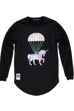 Crewneck black unicorn