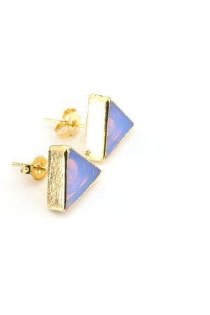 Earrings opal trojkaty zloto