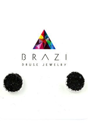 Earrings druza agatu czern srebro