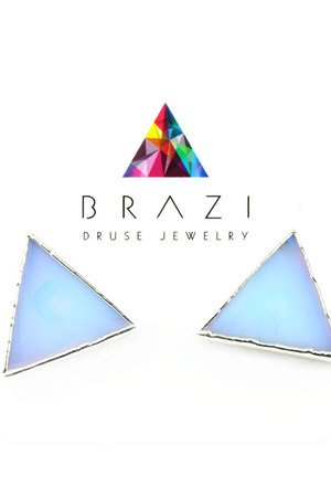 Earrings opal trojkaty srebro