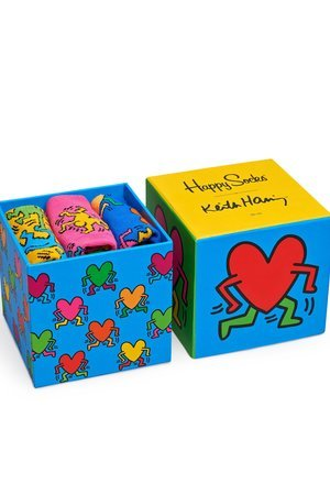 Giftbox 3 pak happy socks x keith haring xkeh08 4000