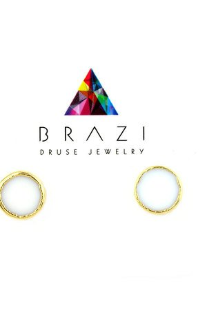 Earrings kwarc bialy zloto