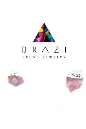 Earrings raw kwarc rozowy srebro