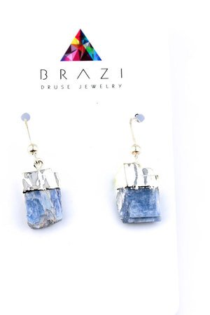 Earrings raw kyanit niebieski srebro
