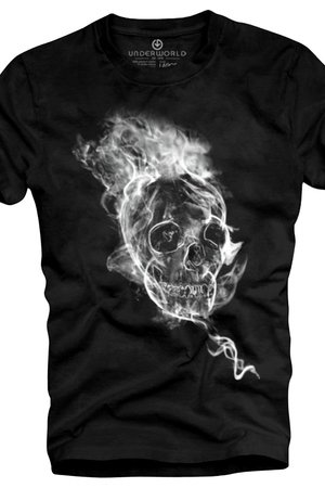 T shirt underworld ring spun cotton smoke skull