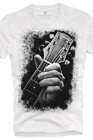 T shirt underworld ring spun cotton guitar head