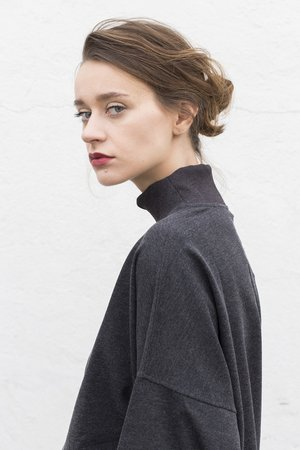 Oversized dark gray turtleneck