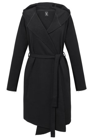 The Hive - LONG HOODIE COAT IN BLACK