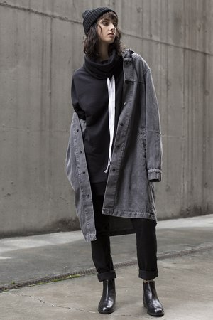 Denim parka jacket in washed black