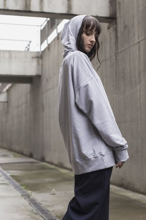 Patch hoodie in cool gray