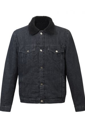 Stone washed sherpa denim jacket