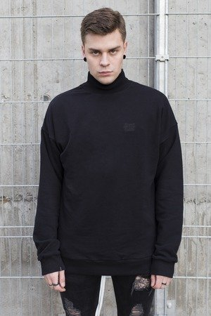 Oversized logo turtleneck jumper in black