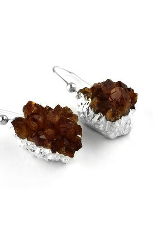 Brazi Druse Jewelry - Earrings Raw Cytryn srebro