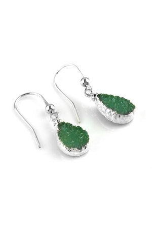 Earrings druzy agatu srebro lezki