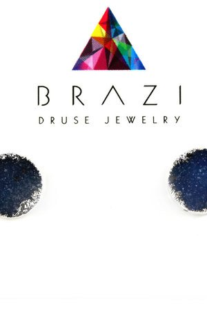 Earrings druza agatu frozen srebro