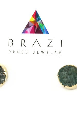 Earrings druza agatu gray green zloto