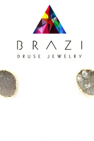 Earrings druza agatu natural zloto owalne