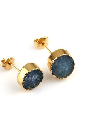Earrings druza agatu blue zloto