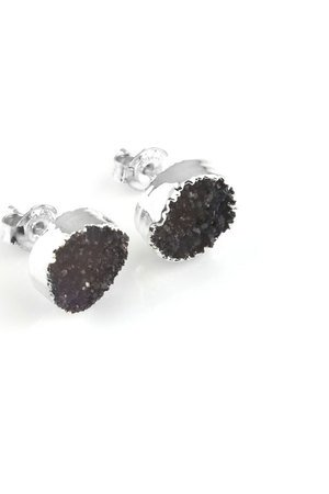 Earrings druza agatu srebro